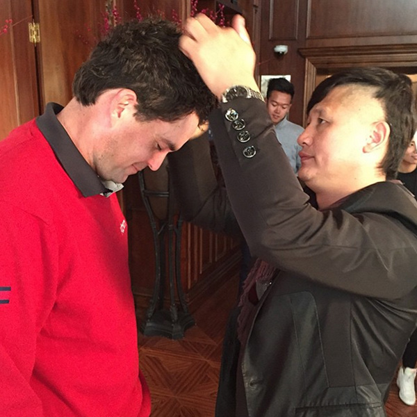 @westwood_lee AP day with Keegan Bradley. Had to share this. He really loves having his hair done!