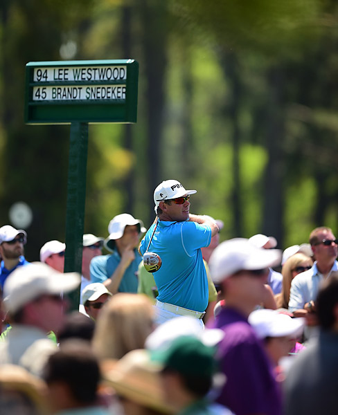 Lee Westwood has multiple near-wins at the Masters. He sits three shots back.