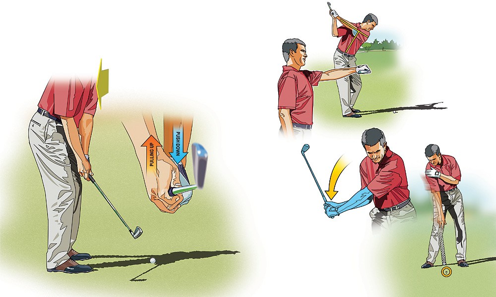 POWER HITTER: How to Make Your Swing Repeat                       FAULT -- INSIDE TAKEAWAY: Many golfers take the club back with their hands, which pulls the club to the inside and throws it off-plane. To keep the shaft swinging on the correct path, allow the natural rotation of your chest and shoulders to take the club back. As the clubhead approaches hip height, push down on the grip with your left hand while pulling up with your right.                                              FAULT -- OVERTURNING: Too many amateurs come out of their posture. At the top of your backswing, your left arm should form a right angle with your spine -- from here, the clubhead has a direct inside path to the ball.                                              FAULT -- COMING OVER THE TOP: The average slicer starts down with the shoulders, moving the clubhead out toward the target line. This sets up a steep, out-to-in path. In a good downswing, the arms start down before the shoulders. As a drill, hold a ball in your right hand and simulate a backswing, then accelerate your right arm down toward the ground (marked by a tee in the photo above), firing the ball at the tee.