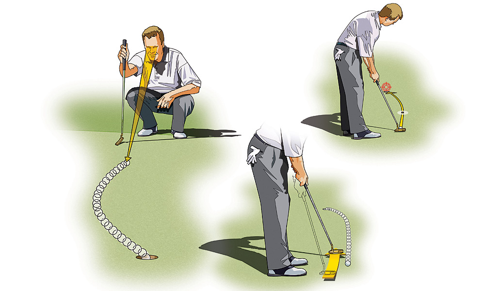 "LOW HANDICAPPER: Pressure-Proof Your Putting                       1. LOSE THE NEGATIVITY: Free your mind of negative thoughts—e.g., ""Don't leave it short"" and ""Don't push it""—and visualize the ball going into the hole. Squat down behind the ball to get a better view of the green's terrain, and see the ball rolling back and forth, to and from the hole. This will give you a better image of how much break there is to the putt, something you can't do if your mind is cluttered with negative images.                                              2. CONNECT THE DOTS: Pick out an intermediate target (a single blade of grass, a brown spot, etc.) at the outermost point—or apex—of the putt's break, and then a second target at the back of the hole. The latter tells you just how hard you need to hit the putt to reach the back of the hole. Aim the putterface at your intermediate target, commit to it, and then focus on the speed.                                              3. TIME YOUR ROLL: Determine the number of seconds you think it will take for the ball to reach the hole and then match your stroke to it. Keep in mind that if the putt is uphill, the ball will travel faster because you have to hit the ball harder; conversely, if it's downhill it'll go slower. Rehearse a stroke that will take the same amount of time it takes the ball to reach the hole, and then go."