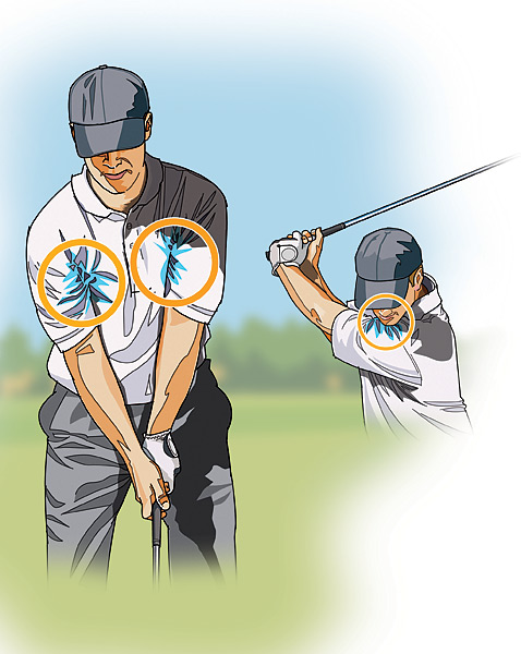 STRAIGHT HITTER: Tuck Your Shirt In                       Most amateurs think that to hit the ball far, they have to swing the clubhead as far back as possible. Thus, long after their body has stopped turning on the backswing, they're still moving their arms. Now they have to find a way to sync their arms up with their body on the downswing, which is virtually impossible to do in the quarter of a second it takes to hit the ball.                                              To generate maximum clubhead speed, your arms and club must arrive at the top at the same time, which gives them a good chance to remain in sync on the downswing. That's how you keep the club swinging on plane, which is the fastest way to deliver the clubhead to the ball. To help keep them working together, stuff your shirt into your armpits so that your upper arms are tight to your chest. Then hit some half-wedge shots, keeping your shirt tucked in through the finish. Advance to some full swing shots, again trying to keep your arms snug to your body as you swing to the top.
