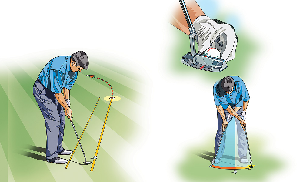"LOW HANDICAPPER: How to Master Slipper Putts                     There are few putts scarier than a slick, big-breaking downhill putt. Just ask any pro who gets above the hole at Augusta National. With these slippery putts, about all it takes to get the ball moving is a gentle breeze. Hit it too hard, and you might find yourself with a similar-length putt on the other side of the hole. Use these keys to take the fear out of these fast-charging putts.                                          KEY 1: PUTT TO THE APEX: Determine how hard you want to hit the ball, keeping in mind that it could be a fraction of the putt's total length. Next, look for the high point of the putt's break—i.e., where gravity takes over and the ball starts to fall gently toward the hole. Forget about the actual hole itself and aim at the apex, as if it were the hole, and start the putt in that direction.                                          KEY 2: FIND THE SWEET SPOT: Align the ball in the center of the clubface and strike your putt there—this will generate more topspin and allow it to hold its line better. With today's heel-toe-weighted putters, any ball struck on the toe will cause the putterhead to twist open. So while it may soften the blow, it will also produce unwanted sidespin.                                          KEY 3: CALM ACCELERATION: Take several practice strokes, getting a feel for how the putterhead slows as it swings past the ball. Think ""longer back, shorter through,"" which will produce a soft enough blow to get the ball to the apex. Let the collision between the ball and the face kill the putterhead's momentum; do not decelerate the head prior to impact."