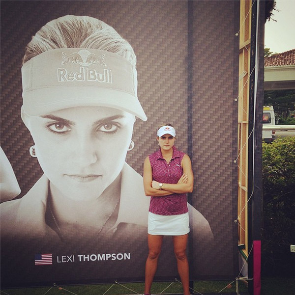 "Lexi meant business in 2014, and not just on the course. Lexi: ""Love the billboard here at the @simedarbylpga ! #deathstare #watchout"""