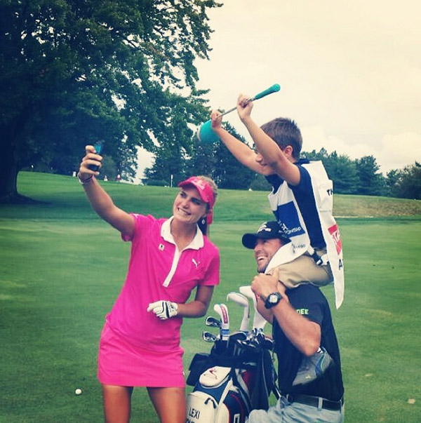 @lexi Selfie time out on the course with Cooper and my caddy, benji. :) #WeLoveRoc