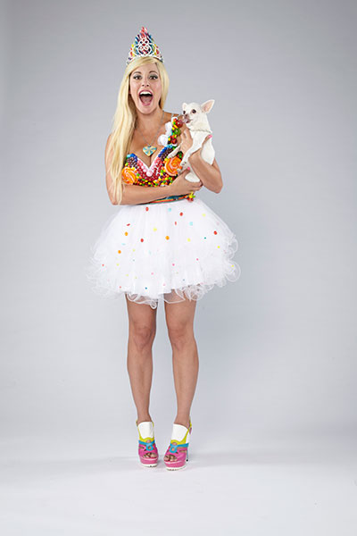 Estes made the dress for this shoot herself -- out of candy.