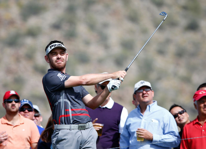 Louis Oosthuizen watches his shot during his 5 & 4 victory over Webb Simpson in the third round.