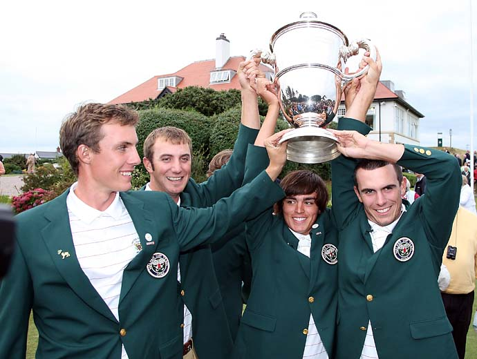 Jamie Lovemark, Dustin Johnson, Rickier Fowler and Billy Horschel celebrate their win at the 2007 Ryder Cup at Royal County Down in Northern Ireland.