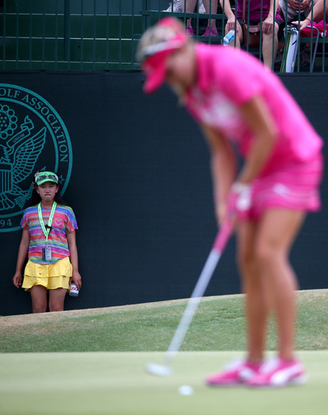 11-year-old U.S. Women's Open qualifier Lucy Li missed the cut on Friday but stuck around to take in the third-round action.