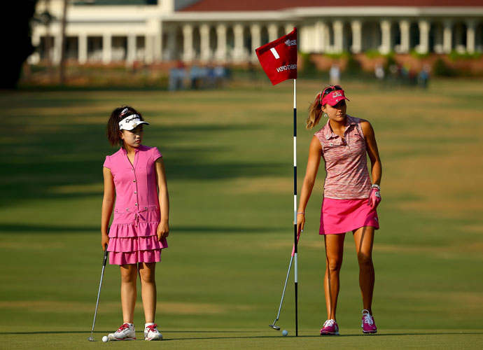 Lucy Li plays a practice round with Lexi Thompson. Thompson, who qualified for the U.S. Open at age 12, was the youngest-ever qualifier until Li made the field as an 11-year-old.