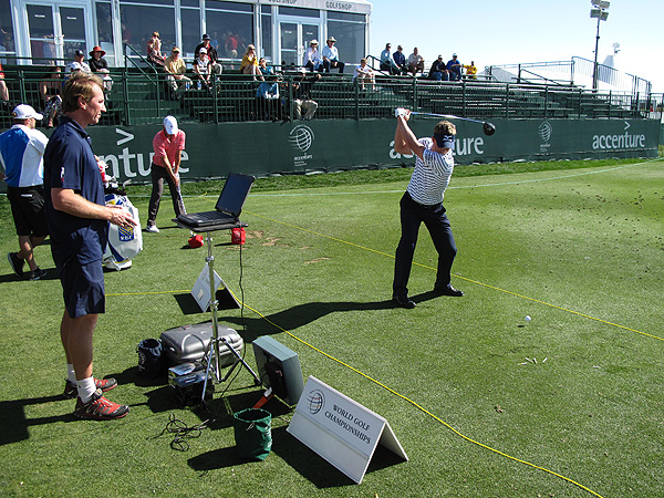 practiced with a TaylorMade R9 SuperTri driver and a launch monitor on Monday afternoon.