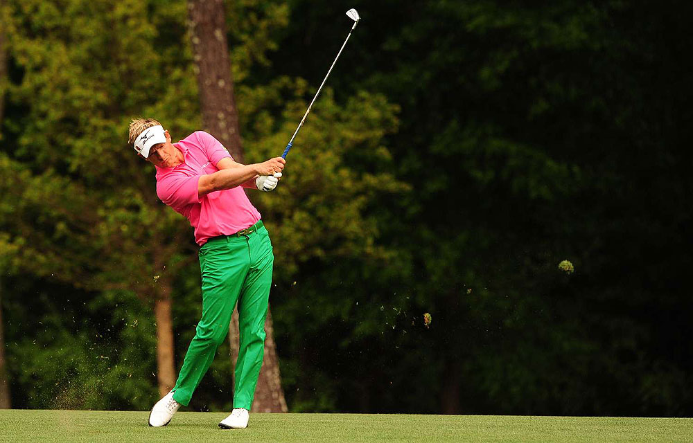 "Green again. But Luke Donald, the world's No. 1 player, showed a sophisticated sense of color at this year's Masters, combining an acidic green shirt with sweet pink trousers for a perfect, very ""golf"" combination."