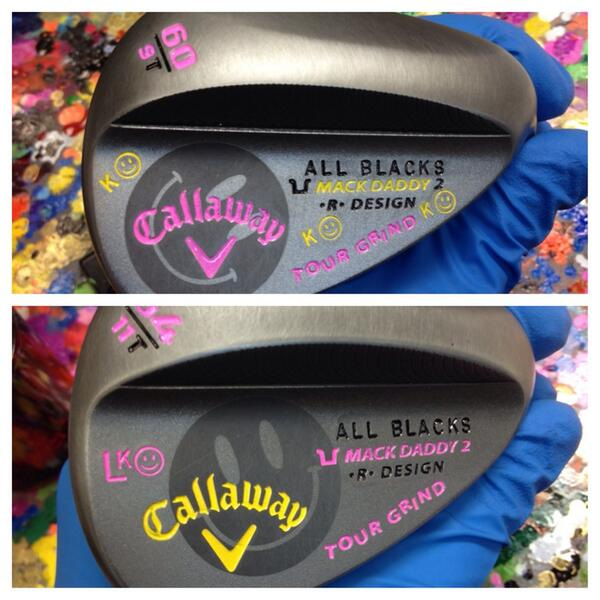 Callaway wedges made for New Zealander Lydia Ko, a big fan of the All Blacks, New Zealand's rugby team.
