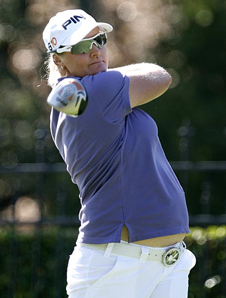 Round 1 at the Longs Drugs Challenge                     Nearly five months pregnant, Sweden's Maria Hjorth shot a 6-under 66 on Thursday for a share of the first-round lead with Michele Redman in the LPGA Tour's Longs Drugs Challenge.