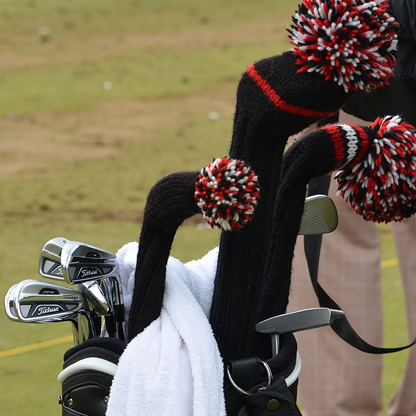 Mark O'Meara has Titleist 710 AP2 irons and old-school headcovers that look perfectly in place at an Open.