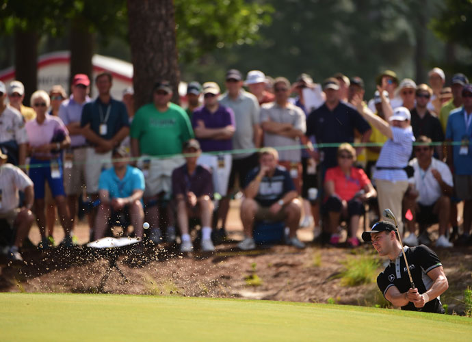 Martin Kaymer plays from a greenside bunker during his second-round 65. The Players champion and former World No. 1 built an eight-shot lead with his second consecutive 65 at Pinehurst No. 2.