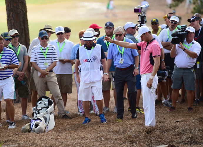 """Martin Kaymer's scrambling 1-over 36 on the front nine in the third round featured the following stretch on the first six holes: par, bogey, par, bogey, eagle bogey. He made a crucial bogey 5 at the second after taking a drop from an unplayable lie. """"I was hoping for a free drop, but didn't get that one. And then I made a great up-and-down there from 165 yards,"""" Kaymer said."""
