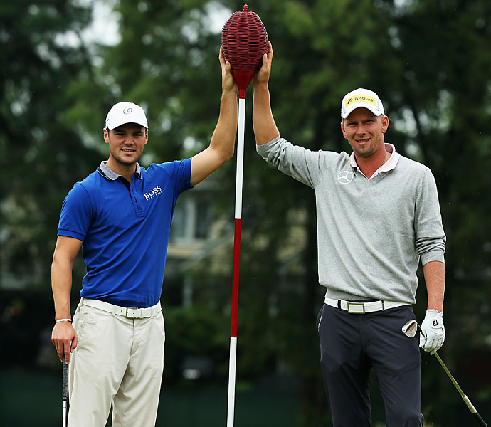 Countrymen Martin Kaymer and Marcel Siem posed with one of Merion's iconic wicker baskets.