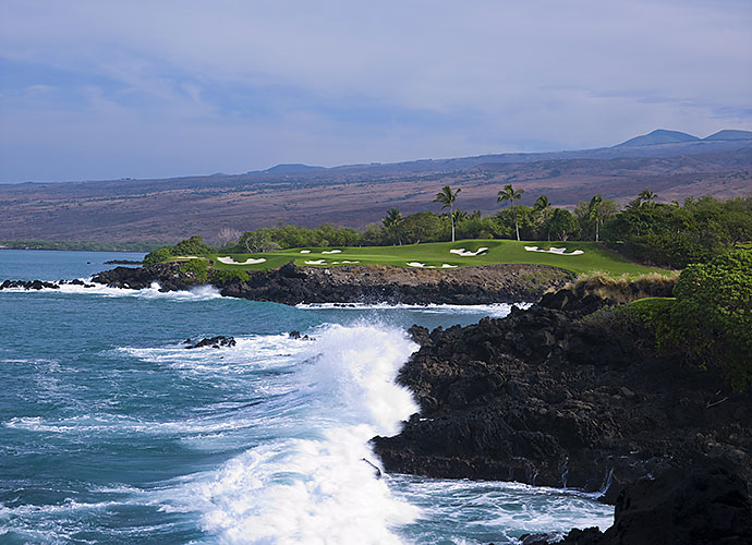 31. Mauna Kea Golf Course, Big Island, Hawaii, No. 3, par-3: Robert Trent Jones' single most dramatic hole is this gargantuan 272-yarder that asks for a smash across the pounding Pacific surf from an isolated tee box set into 5,000-year-old black lava rock.