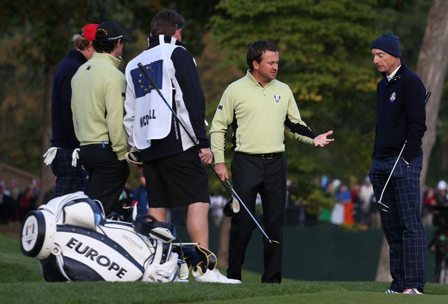 McDowell wanted relief from a sprinkler head on the second hole, but Furyk was in no mood to let him take the drop. Rules officials were called in, and McDowell played it from the original lie.