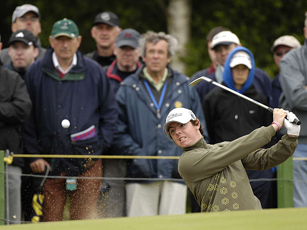 Eighteen-year-old Rory McIlroy followed a first-round 68 with a 76 to finish two over. He was the only amateur to make the cut.