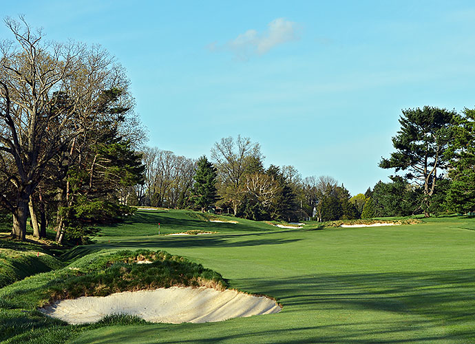 "32. Merion Golf Club (East), Ardmore, Pa., No. 5, par-4: Daunting choices greet the golfer at the 504-yard 5th. Choose the flatter left side of the landing area and you risk pulling it into the creek. However, a right-side play leaves a hanging lie to a green that swings hard right to left. A ""safe"" approach to the right means either an impossible up and down chip or a near-certain three-putt."