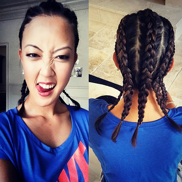 @themichellewie @nikegolf wanted more of my personality incorporated in their shoot today for 2015...so obviously that means cornrows right?! Absolutely amazed by these braids. Thank you @thebeautychemist @panerphenerphen for this fresh new look today! #kevinfederline #TeamNike #Vapor
