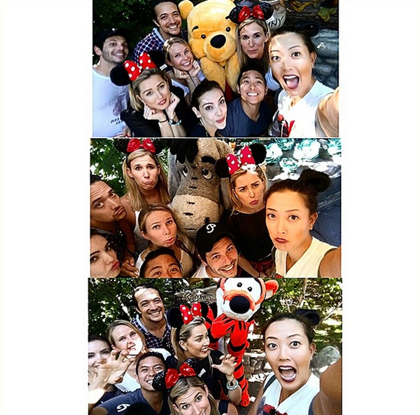 @themichellewie #GroupSelfWIE (haha get it? SelfWIE lol) with our buddies Winnie, Tigger, and Eeyore #Disneyland