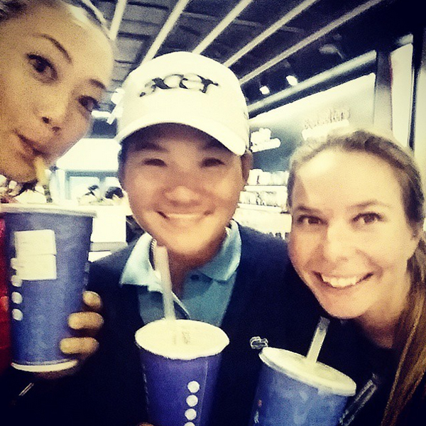 "@themichellewie Tuesday afternoon ""tea"" time with our favorite Taiwanese tour guide @yanitseng #bubbletea #Taipei"