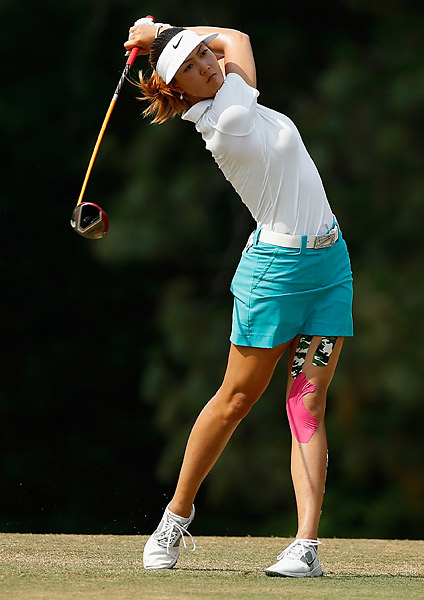 Michelle Wie was just one back of Lewis' lead.