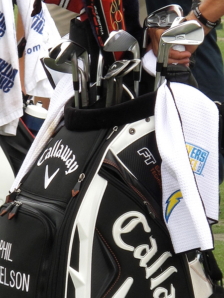 didn't let the proximity of Green Bay keep him from carrying a San Diego Chargers towel on his bag.