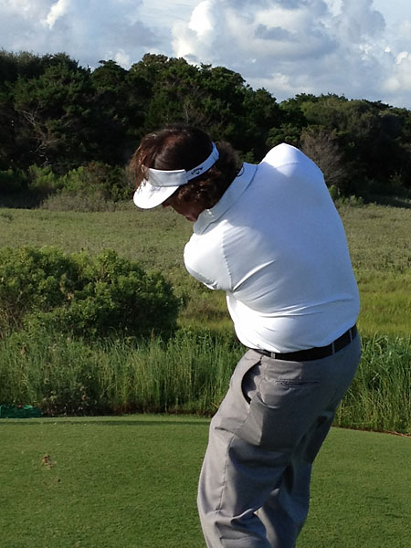 Mickelson took a break from his round Monday to send a souvenir to fans at a nearby party.