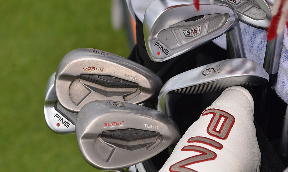 Miguel Angel Jimenez still uses Ping S56 irons, but he has added the company's new Tour wedges.