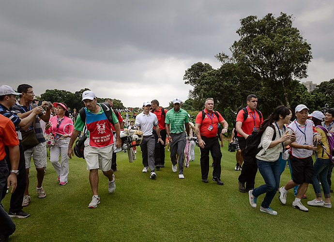 """With the PGA Tour season behind them, Rory McIlroy and Tiger Woods reprised their roles as dueling golfers in an 18-hole exhibition match at Mission Hills in China in October. McIlroy bested Woods, 67 to 68, for the second year in a row. """"I would like to play all my tournaments in China where I can beat Tiger,"""" McIlroy said of his victory."""