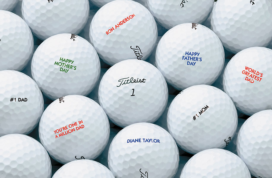 Personalized golf balls, (Prices vary; golfgalaxy.com)                       Pick from a wide variety of brands and have your favorite golf ball personalized.