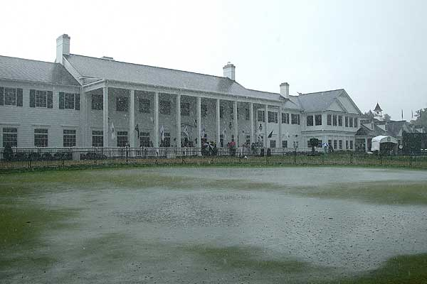 After more than four hours of rain delay, the PGA of America suspended play for the day.