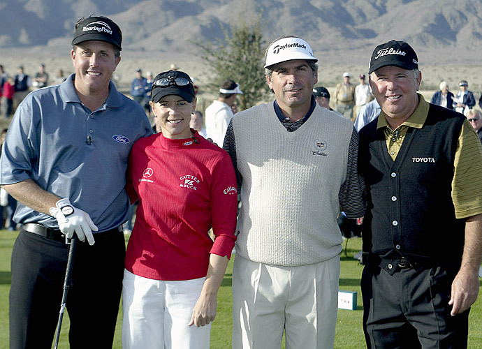 THE VERDICT: Mickelson was within his rights. Before the playoff, Mickelson's caddie replaced Lefty's 4-wood with a 2-iron. Mickelson then used that 2-iron for his approach on the first playoff hole. Because it was stroke play and the nine holes (which were the stipulated round in this event) had been completed, he technically could have switched out his entire bag. As for Couples, he went on to win the skin -- and $200,000.                       (Photo: From left, Phil Mickelson, Annika Sorenstam, Fred Couples and Mark O'Meara at the 2003 Skins at the Trilogy Golf Club in La Quinta, Calif.)