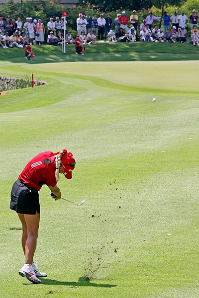 Natalie Gulbis made par on the ninth hole, but her 1-over par 73 left her tied for 20th.
