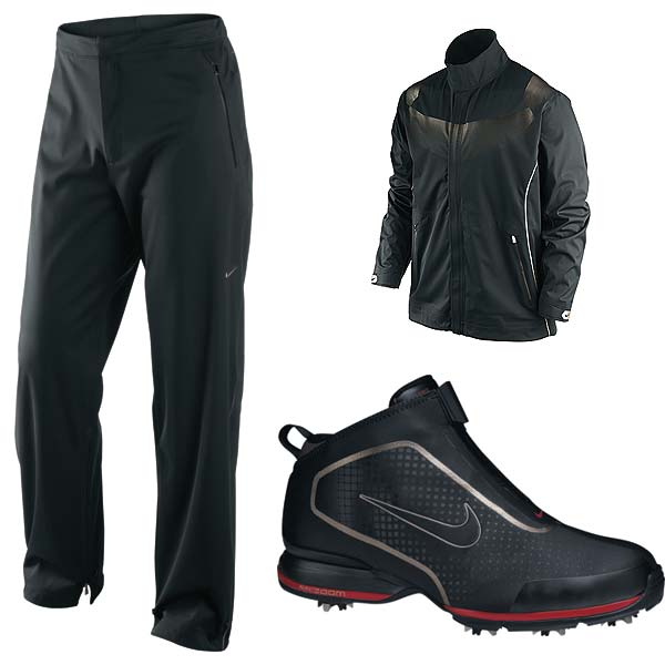 can help you play your best when the weather is at its worst. The Elite Half-Zip Jacket ($260) and pants ($200) stretch in every direction; are 100% waterproof and windproof; and are as quiet as an Augusta National crowd waiting for Tiger to putt. The Zoom Bandon shoes ($176) are ankle-high for added stability in wet, muddy conditions and are completely seam-sealed to keep your feet extra dry. Instead of laces, which can get wet and cause leaks, a covered zipper system holds your foot in place.More information at nikegolf.com
