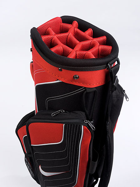 Nike Tech Sport                     $110, nikegolf.com                     6 lbs. 3 oz.                      • The Tech Sport has six forward-facing pockets that are all easily accessible in a cart. External tee holders (just above the ball pocket) mean you won't be fumbling around when it's your turn to tee off. Choosing your weapon is a breeze—14 individual dividers keep grips unstuck and shafts untangled.