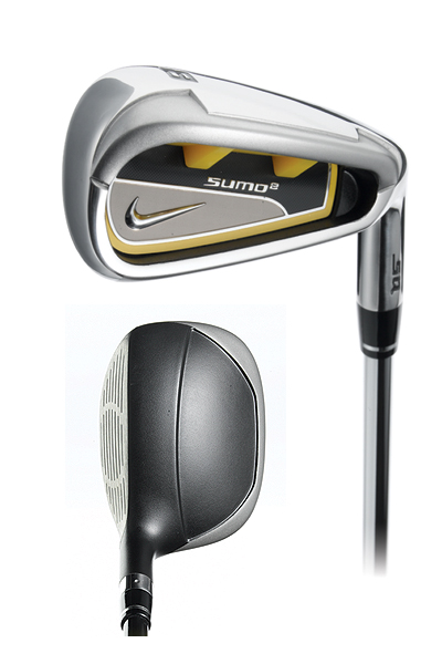 Nike SQ Sumo2 Hybrid                     $899, steel; $999, graphite                     nikegolf.com                                          Set makeup: 4 (23°), 5 (26°), 6 (30°), 7 (34°) in SQ Sumo2                     hybrid, and 8-iron to AW                                          Hybrids: The squarish shape                     makes it easy to point and shoot.                     Added mass in the extreme heel                     and toe areas contribute to the                     club's forgiving manner. The hard,                     light Cryo steel face broadens                     the usable hitting area for                     consistently long distance.                                          Irons: The low-profile design,                     wide sole and long blade length                     provide a good deal of directional                     forgiveness. These features also                     help the clubhead blow through                     light rough. The polyurethane                     insert [yellow] absorbs some                     vibration from heel or toe hits.                                          More Equipment Articles:                     • The Shop: Get the latest equipment news                     • GOLF Magazine ClubTest 2008                     • Gear Doctor: Mud wedges, sunglasses and driver loft