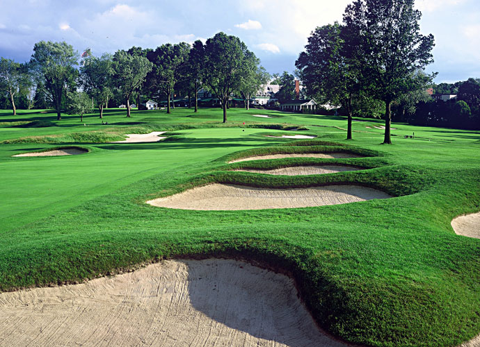 2. Oakmont, Oakmont, Pa.                         Green tees: 7,255 yards, par 71; rating: 77.1, slope: 147                        What a 16 handicapper would shoot: 96                                                No course on earth plays so viciously harder than it looks than Oakmont. No trees, no water, few forced carries and huge greens normally add up to a sea of red numbers for the game's best, but not here. Not with the ferocity of these greens (which they actually slow down for U.S. Opens), a lethal combination of speed, contour and firmness, plus brutal rough and more than 200 bunkers.