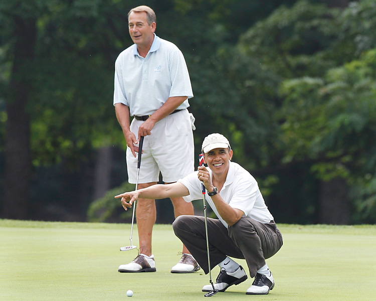 Obama and Republican Speaker of the House John Boehner put aside their differences and won a friendly match against Vice President Joe Biden and Ohio Republican Gov. John Kasich in June 2011.