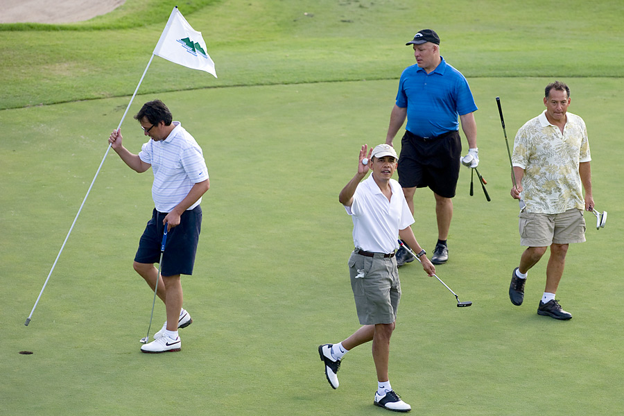 Obama often plays with members of his staff.