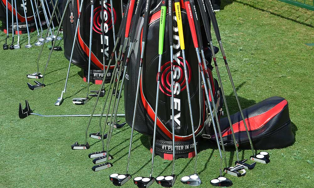 Odyssey also had bags filled with putters for the players to try out.