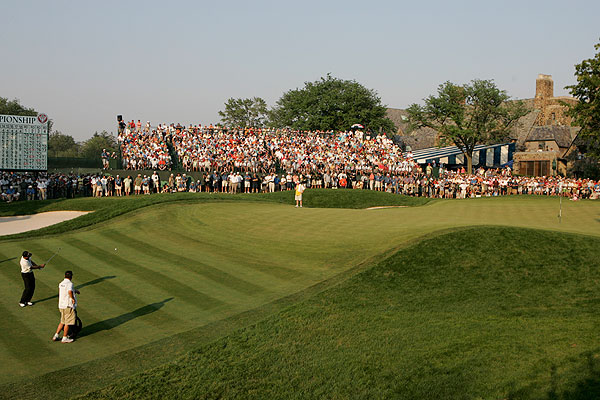 After chipping in on the 17th hole, Ogilvy made an up-and-down par from the front of the green on 18.
