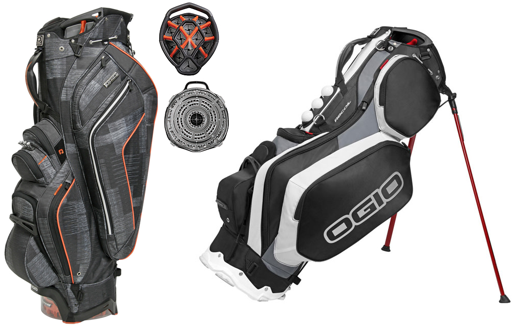 Ogio Recoil Stand Bag, Chamber Cart Bag                       $239/$259, ogio.com                       The elastic straps in Ogio's SHOXX suspension system in the Recoil help to balance the weight of your clubs and gear evenly, so walking up hills and across fairways is a lot more comfortable. In the Chamber, your clubs lock into place thanks to the ingenious Silencer system so they don't clang together. Music to our ears.