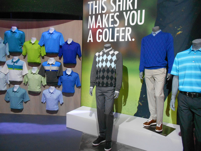 Ashworth Golf presented a display of blue, green and argyle prints on polos and sweaters.