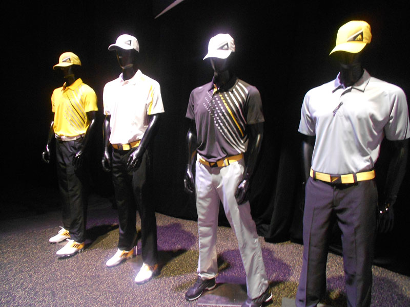 Adidas showcased a special collection of yellow and gray apparel, which was designed to complement the company's new Adizero golf shoes.
