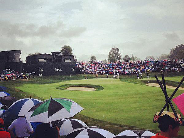 @PGAChampionship                       Rain won't stop us, that's why we have umbrellas...and chairs??? #creativefan #PGAChamp