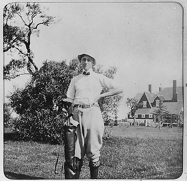 The FDR museum in Hyde Park, N.Y., which hosts FDR's clubs, tells the story of a passionate golfer before contracting polio at age 39. Photo: Roosevelt stands with his golf clubs at Campobello Island, Canada, August 1899.